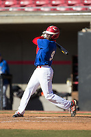 Brian Tagoe (9) of St. Johns College High School in Chevy Chase, Maryland playing for the Texas Rangers scout team at the South Atlantic Border Battle at Doak Field on November 2, 2014.  (Brian Westerholt/Four Seam Images)