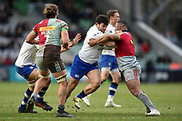 Nathan Catt of Bath Rugby takes on the Harlequins defence. Aviva Premiership match, between Harlequins and Bath Rugby on March 2, 2018 at the Twickenham Stoop in London, England. Photo by: Patrick Khachfe / Onside Images
