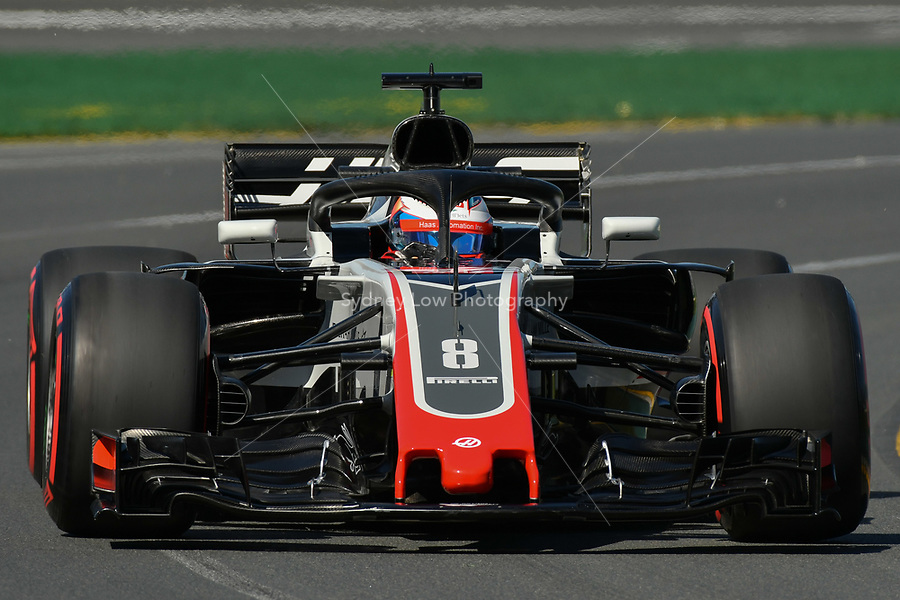 March 23, 2018: Romain Grosjean (FRA) #8 from the Haas F1 Team during practice session one at the 2018 Australian Formula One Grand Prix at Albert Park, Melbourne, Australia. Photo Sydney Low