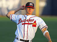 Infield prospect Brent Lillibridge of the Mississippi Braves, the Atlanta Braves' Class AA affiliate of the Southern League, in a game against the Birmingham Barons April 24, 2007, at Trustmark Park in Pearl, Miss. Photo by:  Tom Priddy/Four Seam Images