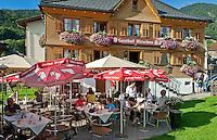 Austria, Vorarlberg, Bezau: resort at Bregenzerwald, Inn Hirschen with sidewalk cafe | Oesterreich, Vorarlberg, Bezau: Hauptort des Bregenzerwaldes, Gasthof Hirschen mit Terrassencafe