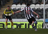 Paul McGowan shoots in the St Mirren v Hibernian Clydesdale Bank Scottish Premier League match played at St Mirren Park, Paisley on 29.4.12.