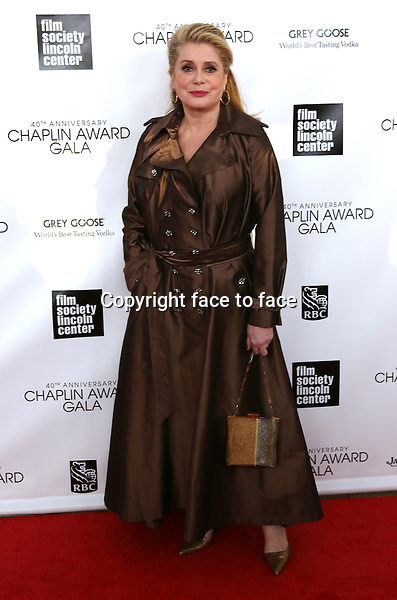 Catherine Deneuve arriving for the 40th Annual Chaplin Award Gala Honoring Barbra Streisand at Avery Fisher Hall in New York City on 4/22/2013..Credit: McBride/face to face