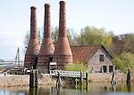 Lime kiln chimneys, Zuiderzee museum, Enkhuizen, Netherlands