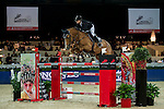 Anne-Sophie Godart of France riding Carlitto van't Zorgvliet in action during the Longines Speed Challenge competition as part of the Longines Hong Kong Masters on 13 February 2015, at the Asia World Expo, outskirts Hong Kong, China. Photo by Li Man Yuen / Power Sport Images
