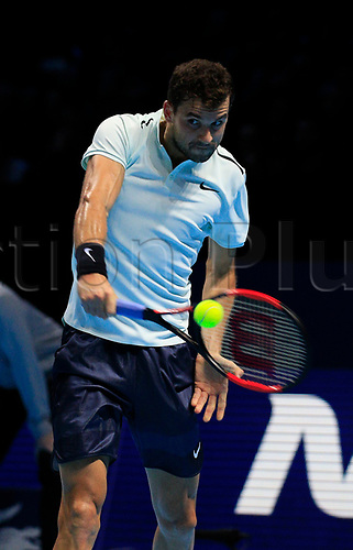 18th November 2017, O2 Arena, London, England; Nitto ATP Tennis Finals; Grigor Dimitrov (BUL) plays a backhand shot in his mach with Jack Sock (USA)