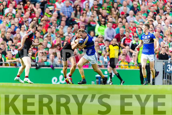 Donnchadh Walsh Kerry in action against Tom Parsons Mayo in the All Ireland Semi Final Replay in Croke Park on Saturday.