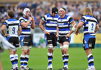Bath forwards look on during a break in play. Pre-season friendly match, between Bath Rugby and Bristol Rugby on August 17, 2013 at the Recreation Ground in Bath, England. Photo by: Patrick Khachfe / Onside Images