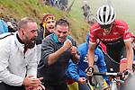 Alberto Contador (ESP) Trek-Segafredo attacks on the brutal climb of Los Machucos during Stage 17 of the 2017 La Vuelta, running 180.5km from Villadiego to Los Machucos. Monumento Vaca Pasiega, Spain. 6th September 2017.<br /> Picture: Unipublic/&copy;photogomezsport | Cyclefile<br /> <br /> <br /> All photos usage must carry mandatory copyright credit (&copy; Cyclefile | Unipublic/&copy;photogomezsport)
