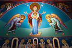 Iconographer Miloje Milinkovic' completing the frescoes and iconostras at historic St. Sava Serbian Orthodox church in Jackson, Calif.