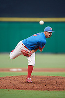 Clearwater Threshers relief pitcher Trevor Bettencourt (39) delivers a pitch during a game against the St. Lucie Mets on August 11, 2018 at Spectrum Field in Clearwater, Florida.  St. Lucie defeated Clearwater 11-0.  (Mike Janes/Four Seam Images)