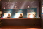 Information centre display explaining formation of dramatic limestone scenery at El Torcal de Antequera national park, Andalusia, Spain.