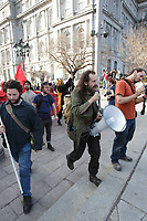 May1st, 2013 File photo - Close to 450 participants to the CLAC   Anti-Capitalism and anti police  yearly march where arrested after beeing cornered by  policemen in Old-Montreal.