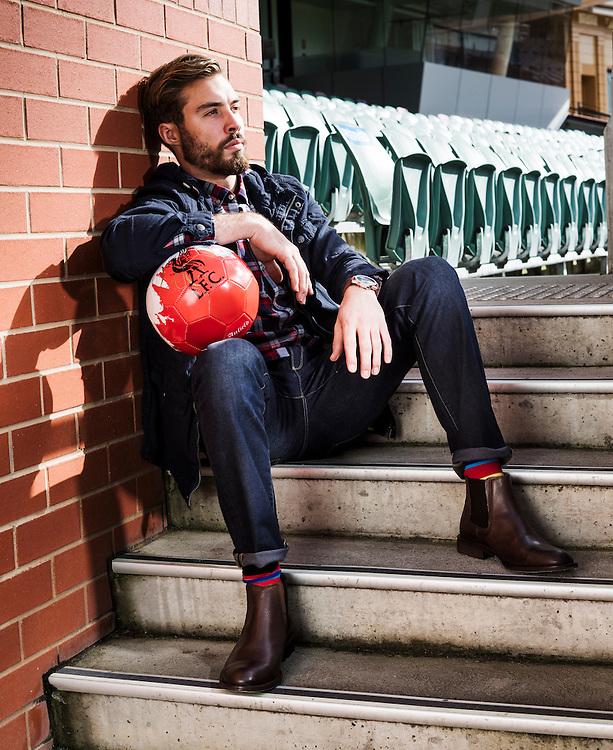 Sunday Mail Fashion, Soccer at the Adelaide Oval, Lemon Ed, Model Jack Littman. Photo: Nick Clayton