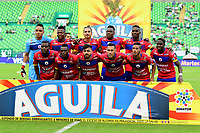 PALMIRA - COLOMBIA, 11-11-2018: Jugadores del Pasto posan para una foto durante los actos protocolarios previo al partido entre el Deportivo Cali y Deportivo Pasto por la fecha 19 de la Liga Águila II 2018 jugado en el estadio Palmaseca de Cali. / Players of Pasto pose to a photo during the formal events prior the match between Deportivo Cali and Deportivo Pasto for the date 19 of the Aguila League II 2018 played at Palmaseca stadium in Cali. Photo: VizzorImage/ Nelson Rios / Cont