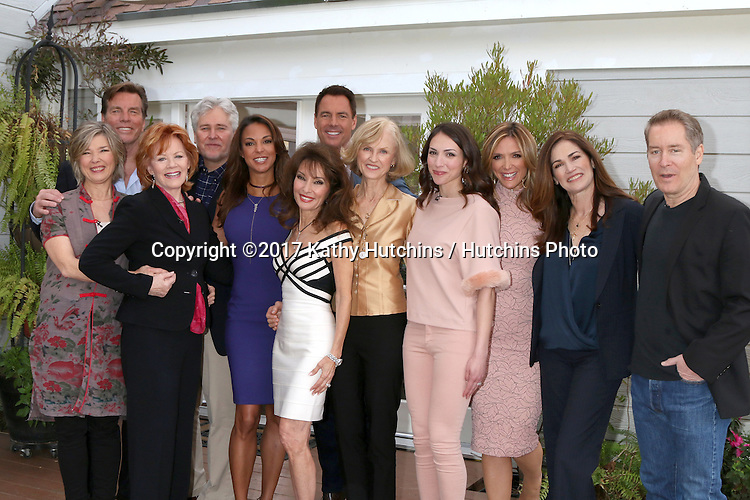 """LOS ANGELES - JAN 5:  Taylor Miller, Peter Bergman, Kathleen Noone, Michael E. Knight, Eva LaRue, Susan Lucci, Mark Steines, Jill Larson, Eden Riegel, Debbie Matenopoulos, Kim Delaney, Laurence Lau at the """"All My Children"""" Reunion on """"Home and Family"""" Show at Universal Studios on January 5, 2017 in Los Angeles, CA"""