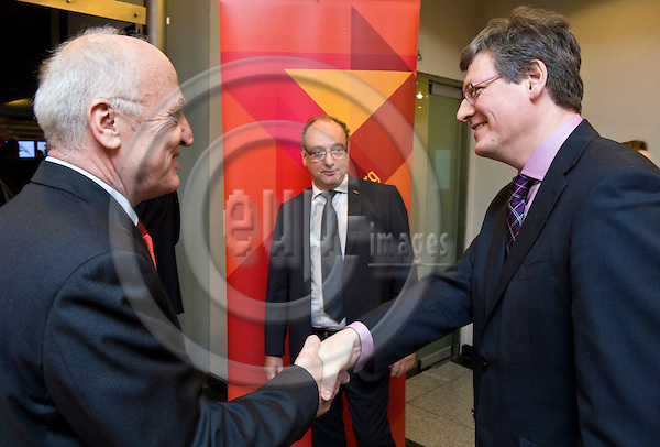 BRUSSELS - BELGIUM - 01 MARCH 2011 -- SOLIDAR Silver Rose Awards 2011. -- Prof. Dr. Josef WEIDENHOLZER (le), President of SOLIDAR greeting EU-Commissioner László (Laszlo) ANDOR for Employment, Social Affairs and Equal Opportunities, Conny REUTER, Secretary General of  Solidar in the center. -- PHOTO: Juha ROININEN / EUP-Images