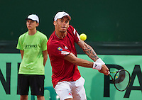 Austria, Kitzbühel, Juli 17, 2015, Tennis, Davis Cup, Second match between Robin Haase (NED and Andreas Haider-Maurer (AUT), pitctured: Andreas Haider-Maurer<br /> Photo: Tennisimages/Henk Koster