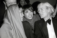 1978 FILE PHOTO<br /> New York City<br /> Bianca Jagger Liza Minnelli Andy Warhol at Studio 54<br /> Photo by Adam Scull-PHOTOlink.net