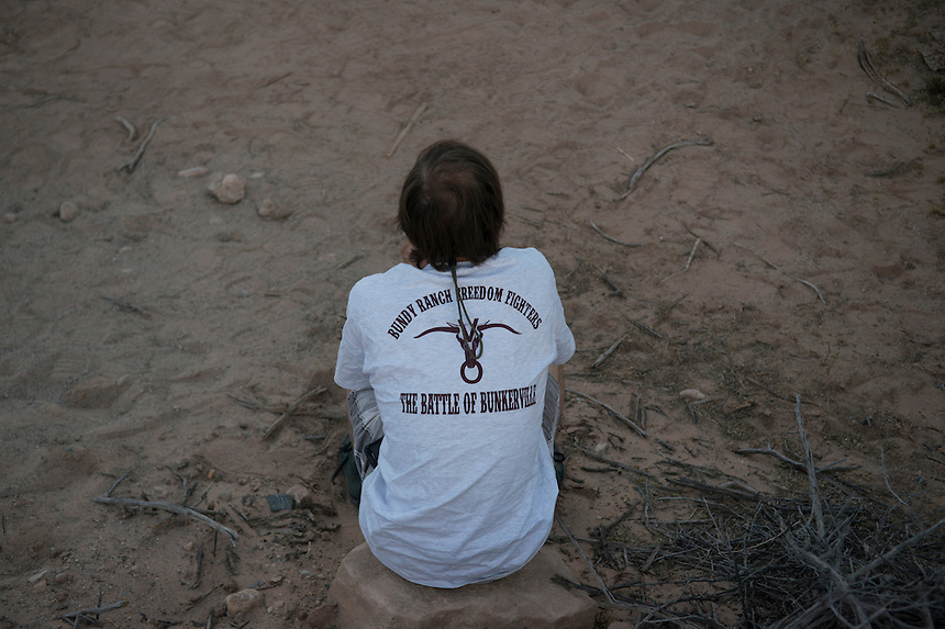 "A Bundy supporter wears a shirt depicting supporters as ""freedom fighters"" engaged in ""The Battle of Bunkerville."" near the Cliven Bundy ranch in Bunkerville, Nevada.<br />
