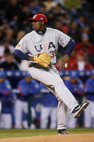 Dontrelle Willis of the USA during the World Baseball Championships at Angel Stadium in Anaheim,California on March 13, 2006. Photo by Larry Goren/Four Seam Images
