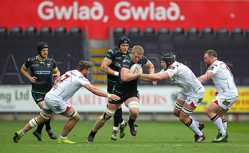 29th April 2017, Liberty Stadium, Swansea, Wales; Pro12 Rugby, Ospreys versus Ulster; Ospreys Bradley Davies makes a break during the match