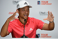Xander Schauffele (USA) is interviewed after leading round 1 of the 2019 Tour Championship, East Lake Golf Course, Atlanta, Georgia, USA. 8/22/2019.<br /> Picture Ken Murray / Golffile.ie<br /> <br /> All photo usage must carry mandatory copyright credit (© Golffile | Ken Murray)