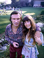 Hugh Hefner with girlfriend Barbi Benton at the Playboy Mansion, Los Angeles, 1973. Photo by John G. Zimmerman.