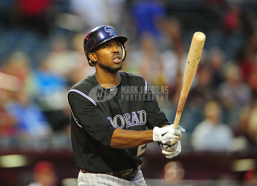 May 3, 2011; Phoenix, AZ, USA; Colorado Rockies outfielder Dexter Fowler against the Arizona Diamondbacks at Chase Field. Mandatory Credit: Mark J. Rebilas-