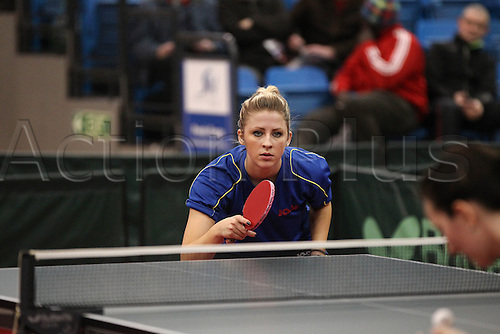 03.03.2013 Sheffield, England.  Emma Vickers during the womens semi-final match of the English National Table Tennis Championships from the Ponds Forge International Sports Centre.