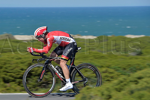 19.02.2016. Sagres, Portual.  DE BIE Sean (BEL) Rider of LOTTO SOUDAL in action during stage 3 of the 42nd Tour of Algarve cycling race, an individual time trial of 18km, with start and finish in Sagres on February 19, 2016 in Sagres, Portugal.