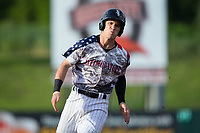 Zach Remillard (8) of the Kannapolis Intimidators hustles towards third base against the Delmarva Shorebirds at Kannapolis Intimidators Stadium on June 30, 2017 in Kannapolis, North Carolina.  The Shorebirds defeated the Intimidators 6-4.  (Brian Westerholt/Four Seam Images)