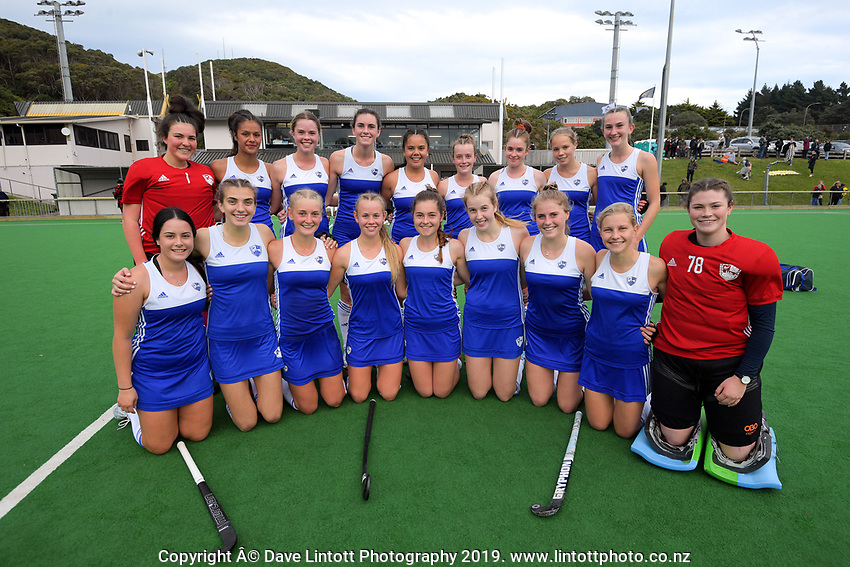 The Auckland women's team. 2019 National Hockey Under-18 Tournament at National Hockey Stadium in Wellington, New Zealand on Friday, 12 July 2019. Photo: Dave Lintott / lintottphoto.co.nz