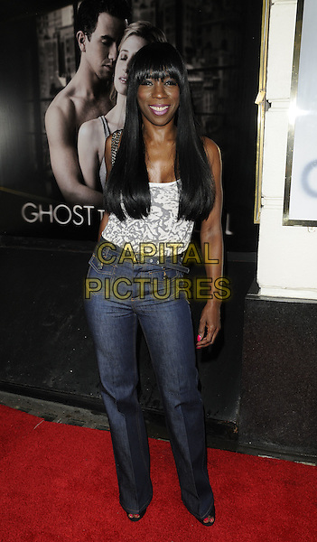 "HEATHER SMALL.""Ghost The Musical"" press night, Piccadilly Theatre, Denman St., London, England..July 19th, 2011.full length jeans denim high waist grey gray white print top.CAP/CAN.©Can Nguyen/Capital Pictures."