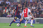 21.10.2014 Barcelona, Spain. UEFA Champions League matchday 3 Group 3. Picture show Sandro Ramirez  (L) and Ricardo Van Rhijn (R) in action during game between FC Barcelona against Ajax at Camp Nou