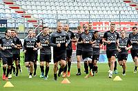 EMMEN - Voetbal, Eerste training FC Emmen , Jerns Vesting , 05-07-2017,    de eerste meters op de training met in het midden Mario Bilate