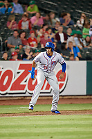 Round Rock Express first baseman Ronald Guzman (31) leads off third base during a game against the Memphis Redbirds on April 28, 2017 at AutoZone Park in Memphis, Tennessee.  Memphis defeated Round Rock 9-1.  (Mike Janes/Four Seam Images)