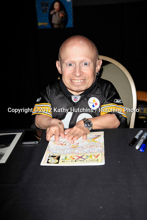 "BURBANK - APR 22:  Verne Troyer participates at ""The Hollywood Show"" at Burbank Airport Marriott on April 22, 2012 in Burbank, CA"