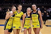 Pulse&rsquo; Whitney Souness, Saviour Tui, Maddy Gordon and Tiana Metuarau, ANZ Premiership - Pulse v Stars at TSB Arena, Wellington, New Zealand on Monday 13 May 2019. <br /> Photo by Masanori Udagawa. <br /> www.photowellington.photoshelter.com