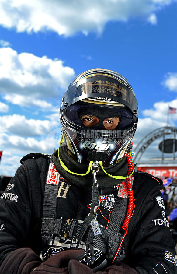 Sept 8, 2012; Clermont, IN, USA: NHRA top fuel dragster driver Khalid Albalooshi during qualifying for the US Nationals at Lucas Oil Raceway. Mandatory Credit: Mark J. Rebilas-