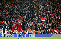 Bayern Munich fans protest as Serge Gnabry lies grounded following a first half tackle<br /> <br /> Photographer Rich Linley/CameraSport<br /> <br /> UEFA Champions League Round of 16 First Leg - Liverpool and Bayern Munich - Tuesday 19th February 2019 - Anfield - Liverpool<br />  <br /> World Copyright © 2018 CameraSport. All rights reserved. 43 Linden Ave. Countesthorpe. Leicester. England. LE8 5PG - Tel: +44 (0) 116 277 4147 - admin@camerasport.com - www.camerasport.com