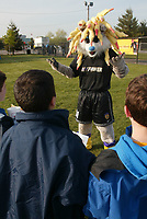New York Power team mascot Zap entertains some young fans prior to the Power's home opener at Mitchell Athletic Complex on April 27.