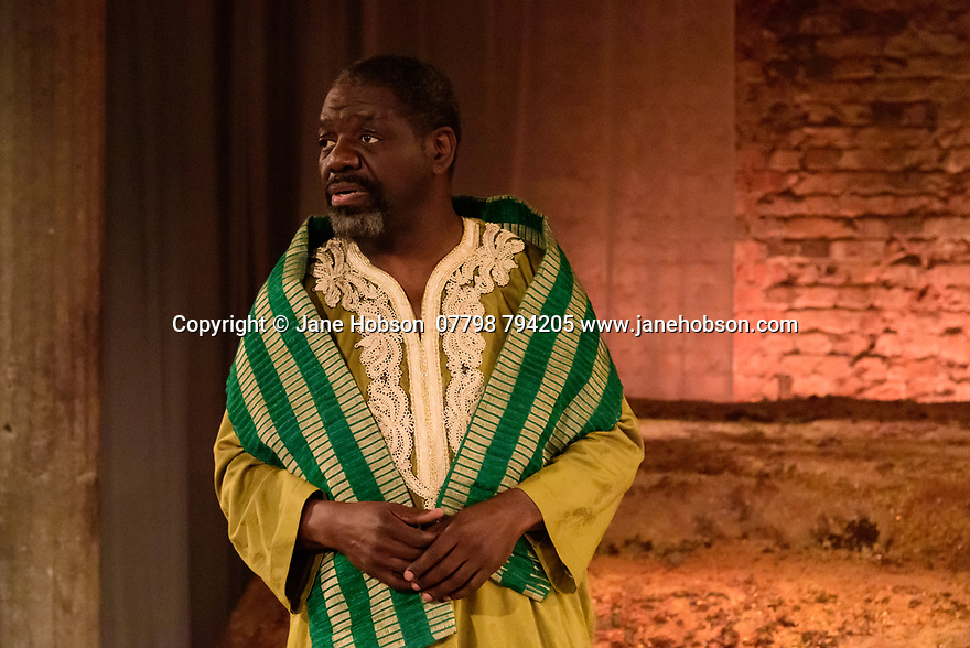 The Bush Theatre & Birmingham Repertory Theatre present the debut play by Temi Wilkey, at the Bush Theatre. Directed by Daniel Bailey, with lighting design by Jose Tevar, set & costume design by Natasha Jenkins, and movement direction by Gabrielle Nimmo. Picture shows: David Webber (as Babatunde).