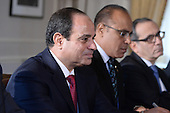 President Abdel Fattah el-SiSi (left) of the Arab Republic of Egypt holds a bilateral meeting with US President Barack Obama (not pictured) at the Waldorf Astoria Hotel in New York, NY, on September 25, 2014. <br /> Credit: Anthony Behar / Pool via CNP