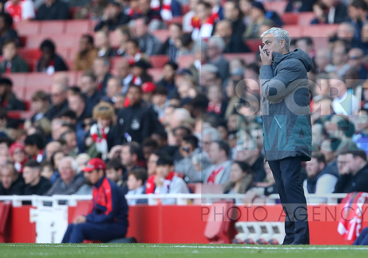 Manchester United's Jose Mourinho looks on dejected during the Premier League match at the Emirates Stadium, London. Picture date: May 7th, 2017. Pic credit should read: David Klein/Sportimage