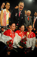 Aug. 8, 2008; Beijing, CHINA; Former president George Bush (top) poses with gold medal winner Mariel Zagunis (right) silver medal winner Sada Jacobson (center) and bronze medal winner Becca Ward following the womens fencing individual final at the 2008 Beijing Olympic Games at the National Stadium. Mandatory Credit: Mark J. Rebilas-