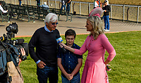 ELMONT, NY - JUNE 08: Bob Baffert and his son, Bode, participate in an interview as horses prepare on Friday for the 150th running of the Belmont Stakes at Belmont Park on June 8, 2018 in Elmont, New York. (Photo by Eric Patterson/Eclipse Sportswire/Getty Images)