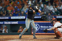 Jackson Lancaster (7) of the Missouri Tigers at bat against the Texas Longhorns in game eight of the 2020 Shriners Hospitals for Children College Classic at Minute Maid Park on March 1, 2020 in Houston, Texas. The Tigers defeated the Longhorns 9-8. (Brian Westerholt/Four Seam Images)