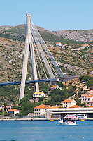 The new Dubrovnik Franjo Tudman Franja Tudmana suspension bridge at the entrance to Gruz docks harbour, Rijeka Dubrovacka bay and Kanal Daksa canal. Luka Gruz harbour. Dubrovnik, new city. Dalmatian Coast, Croatia, Europe.