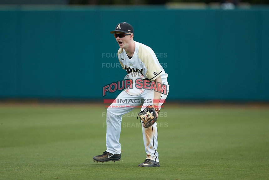 Army Black Knights second baseman Josh White (3) on defense against the North Carolina State Wolfpack at Doak Field at Dail Park on June 3, 2018 in Raleigh, North Carolina. The Wolfpack defeated the Black Knights 11-1. (Brian Westerholt/Four Seam Images)